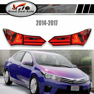 Pair Red Smoked LED Tail Lamps For Toyota Corolla ZRE172 2014-2017 Rear Lights