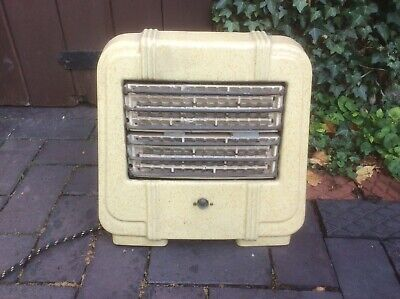 1950s Enamel Floor Standing Cast Iron/Enamel Electric Fire