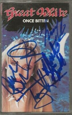 Great White band REAL hand SIGNED Once Bitten cassette tape COA Autographed by 5