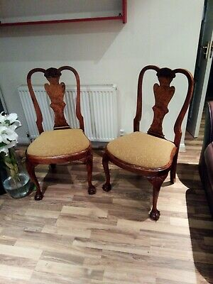 Pair of Stunning Queen Anne Style Dining Chairs, ball & claw feet, hand carved