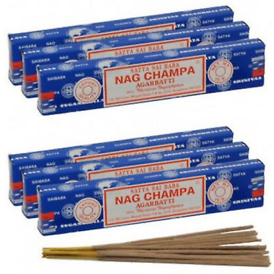 ❤️ 6 Packs - Genuine Satya Sai Baba Nag Champa - Incense Joss Sticks FREE P+P ❤️