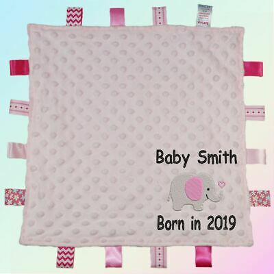 Baby Born Year Elephant Embroidered Baby Dimple Taggy Gift Blanket Personalised