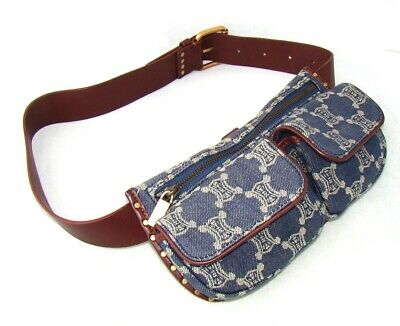 51129ea58a10 CELINE macadam vintage belt waist bag purse fanny pack blue brown jeans  wallet
