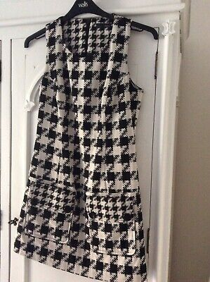 282d51beb6 NEW NEXT BLACK & White Dogtooth Long Sleeve Jersey Dress Size 10 -20 ...