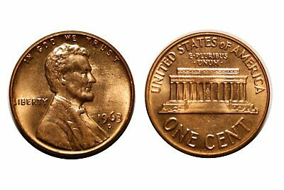 1963-D Lincoln Cent - Double Die # 1DO-022 Choice bu Red #319
