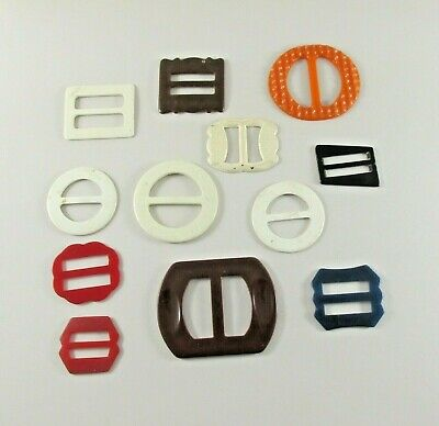 12 Vintage Belt Buckles Sash Slides Bakelite one Metal Sewing Lot Variety
