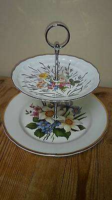 Silurian Ceramic Welsh Floral White 2 Tier Cake Plate Stand Vintage New Fittings