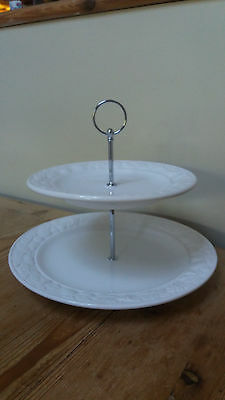 Marks & Spencer Fruit Floral White 2 Tier Cake Plate Stand Vintage New Fittings