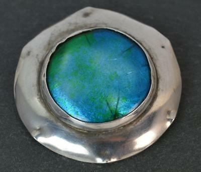 Arts and Crafts Solid Silver and Enamel Panel Disk Brooch