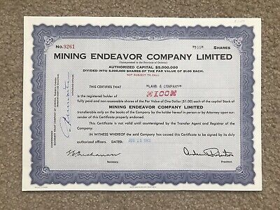 Ontario Mining Endeavor Company Limited 1962, 100 Shares Stock Certificate