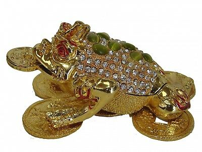 Feng Shui Bejeweled Métal Émail Argent Grenouille 3-legged Money Toad W/Chinois