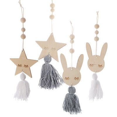 Blesiya 4Pcs Nordic Style Cute Wooden Beads Tassel Pendant Kids Room Decor
