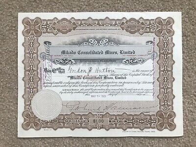 Kenora Ontario - Mikado Consolidated Mines Limited Stock Certificate 1923