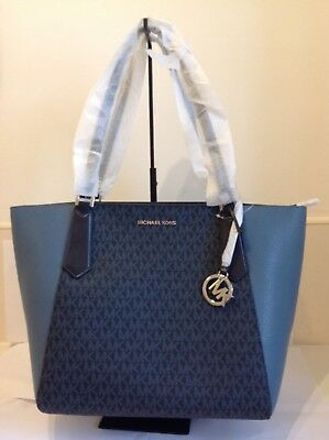e007d6ada5d1 MICHAEL KORS KIMBERLY Blue Denim Monogram Bucket Bag Cross body ...