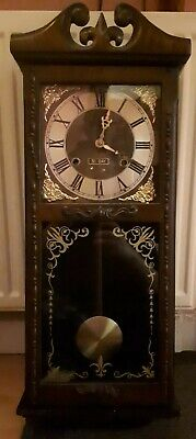 Old Wooden Wind-Up Wall Clock With Key Spares Or Repair
