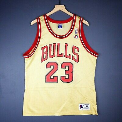 4db43a6d5f0 100% Authentic Michael Jordan Vintage Champion Bulls Gold Jersey Size 44 M L