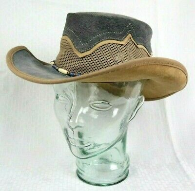 HEAD N HOME Crocodile Dundee Gray Suede Leather OutbackSierra Style Hat, M/L