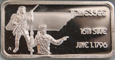 TENNESSEE State 1 Troy Oz .999 Fine Silver ART BAR From HAMILTON MINT