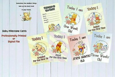 "Baby Milestone Cards Winnie the Pooh ""MONTHS ONLY"" Pack of 16 Unisex Baby Shower"