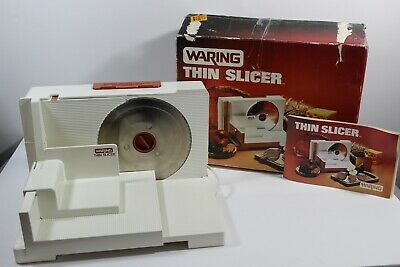 Vintage Waring Thin Slicer Stainless Steel Blade Deli Meat Cheese White Kitchen