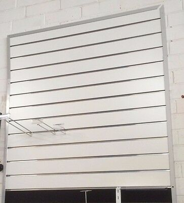 White slatwall sheets with aluminium inserts 1200mm x 1200mm x 18mm