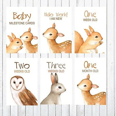 Baby Milestone Cards, 4x6 Photo Prop, 30 cards, Woodland Animals, Deer, Rabbit