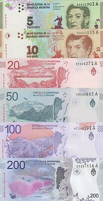 Argentina 6 Note Set: 5 to 200 Pesos (2015/2018) Series A p359 to p364 UNC