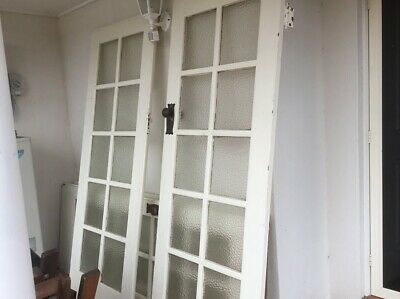 2 sets of used period matching interior 10 lite double doors. 4 doors in total.