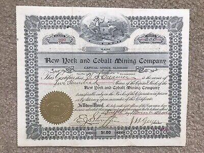 Cobalt Ontario - The New York And Cobalt Mining Company 1906 Stock Certificate
