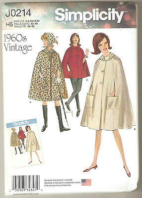 Simplicity Sewing Pattern 8017 / 0214 Miss Retro 1960's Cape in Two Lengths 6-14