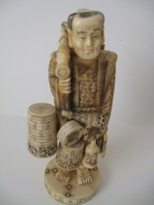 VINTAGE JAPANESE Cattle bone Hand carved TRAVELING ACTORE   Statue