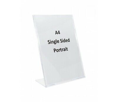 A4 Single Sided Plastic Acrylic  L-Shape Menu or Sign Holder Display- SHLA4
