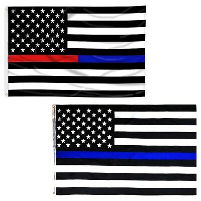 Thin Blue Line & Blue & Red Line USA Flags From TEXAS 3x5 ft Support Police Fire