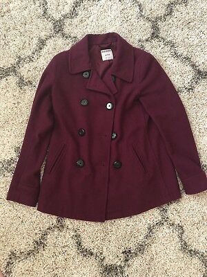 88c459d009f8f Women s Old Navy Plum Peacoat Double Breasted Button Down Wool Blend Size XS
