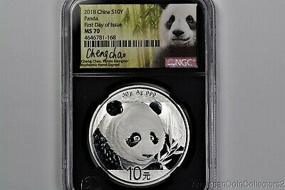 2018 China SILVER Panda NGC MS70 FIRST DAY Issue CHENG CHAO Signed FDI | 13839