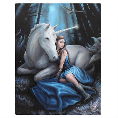 Anne Stokes Canvas Print Blue Moon 40Cm X 30Cm On Wooden Frame - New