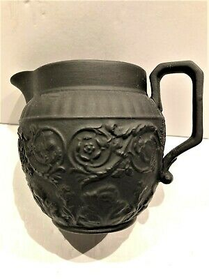 C.19th CENTURY ~ WEDGWOOD BLACK BASALT UK NATIONS PITCHER - 3.25 x 4.25""