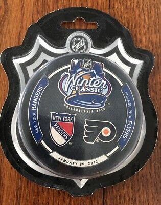 2012 NHL Winter Classic Puck PHILADELPHIA FLYERS v NEW YORK RANGERS in packaging