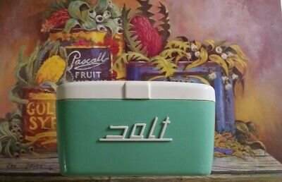 Vintage Green & White Nally Ware Kitchen Canister Salt Box 1950s Retro - Caravan