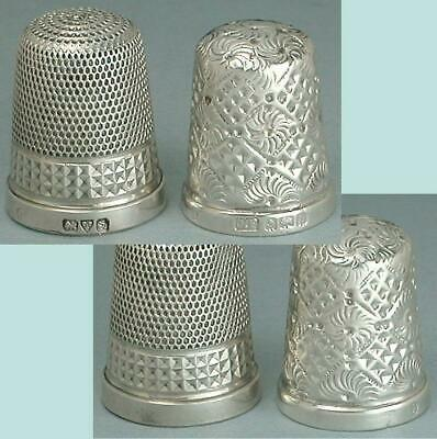 2 Antique English Sterling Silver Thimbles * Hallmarked 1907 & 1924