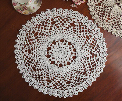 Cotton Lace Hand Crochet Doily Crocheted Doilies Placemat Round 42CM White FP02