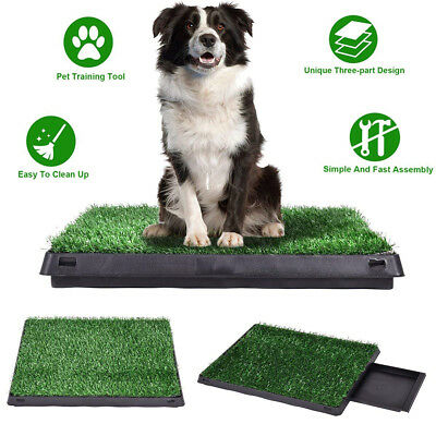 Puppy Training Grass Potty Toilet Trainer Dog Pee Pads+Tray Pet Mat+Restroom New