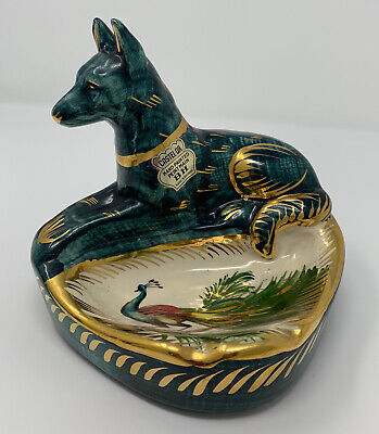 Vintage H. Bequet Quaregnon Hand-Painted Dog And Peacock Dish/ashtray ~ Belgium