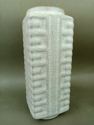 Ancient Chinese song dynasty guan ge kiln porcelain square vase