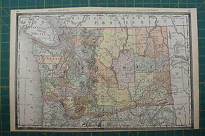 Washington Vintage Original 1892 Rand McNally World Atlas Map Lot