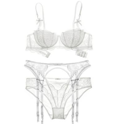 bf2d22195e6 Varsbaby Women Embroidery Lace Half Cup Bra and Panties With Garters Sets 3