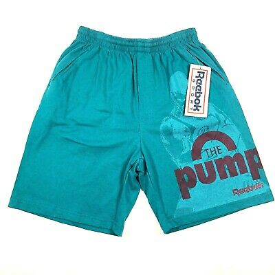 Reebok Sport The Pump Mens M Cotton Gym Workout Shorts Turquoise Blue VTG NWT