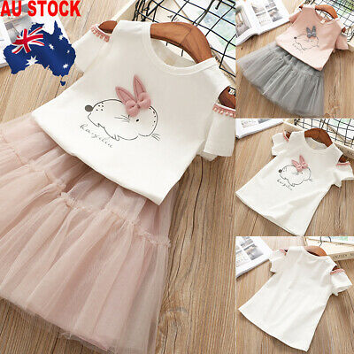 2pcs Infant Baby Girl Clothes Easter Bunny Pattern T-Shirt   + Tutu Skirt Dress
