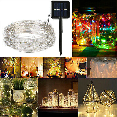 100 200 LED Solar Power Fairy String Light Micro Rice Copper Wire Outdoor Party