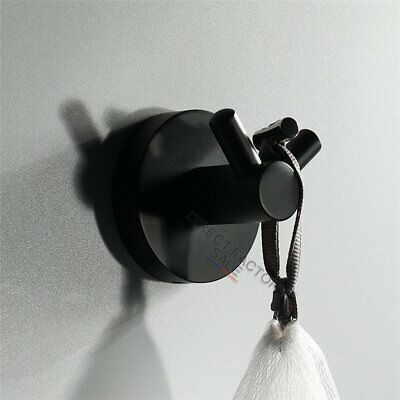 Black Round Double Wall Hook Towel Holder Robe Clothes Stainless Steel Bathroom